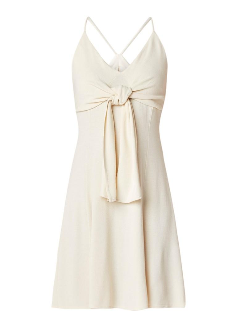 Mango Slater gebreide jurk met knoopdetail beige