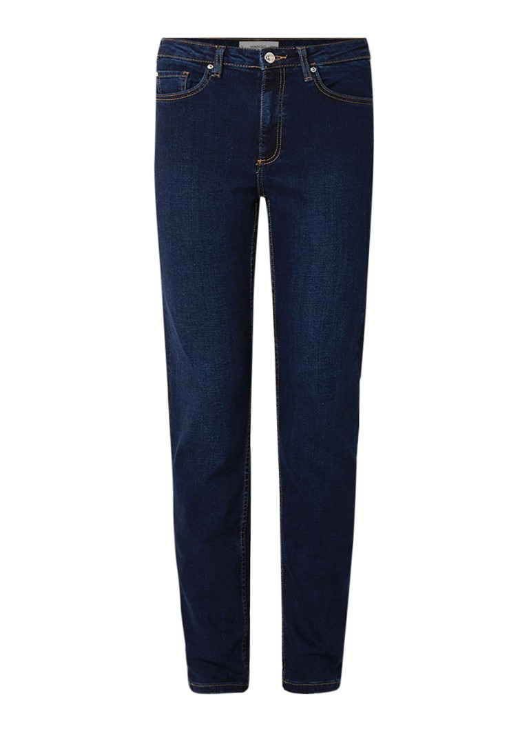 MANGO Anna high waist straight fit jeans in donkere wassing