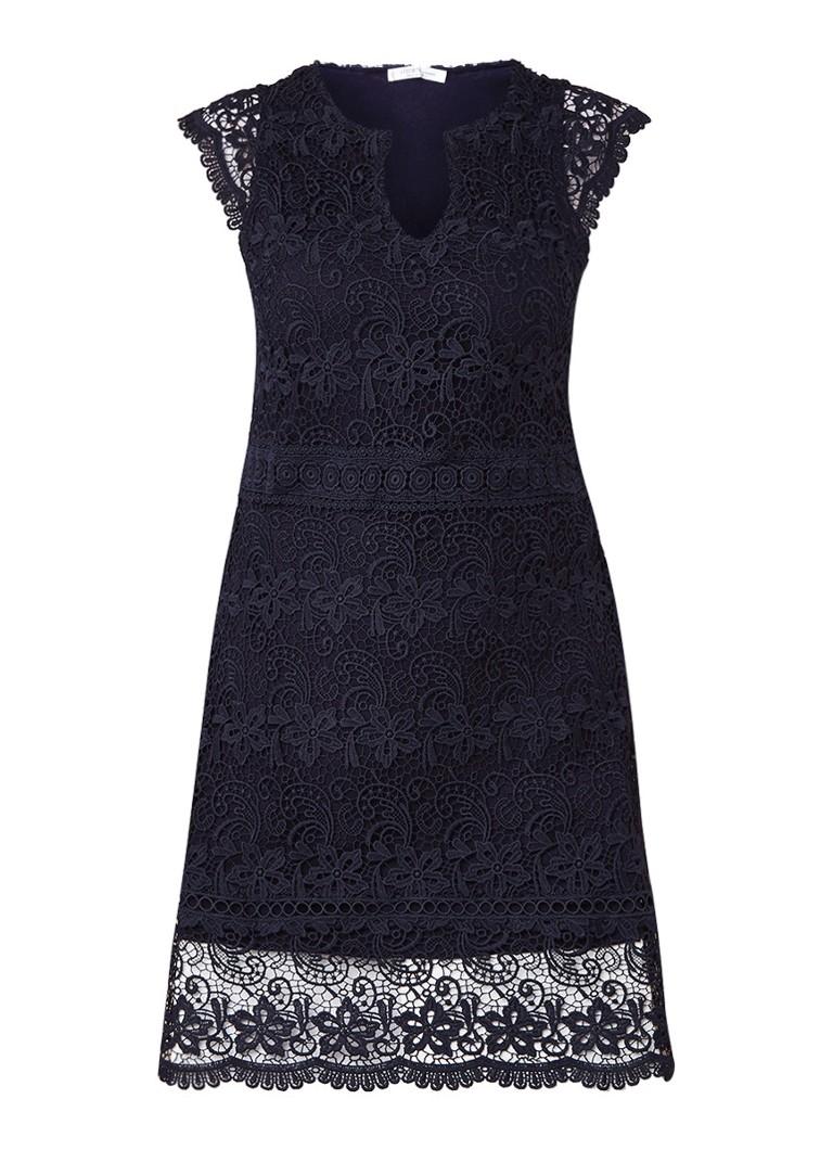 Mango Bosc midi-jurk van gebloemd kant donkerblauw