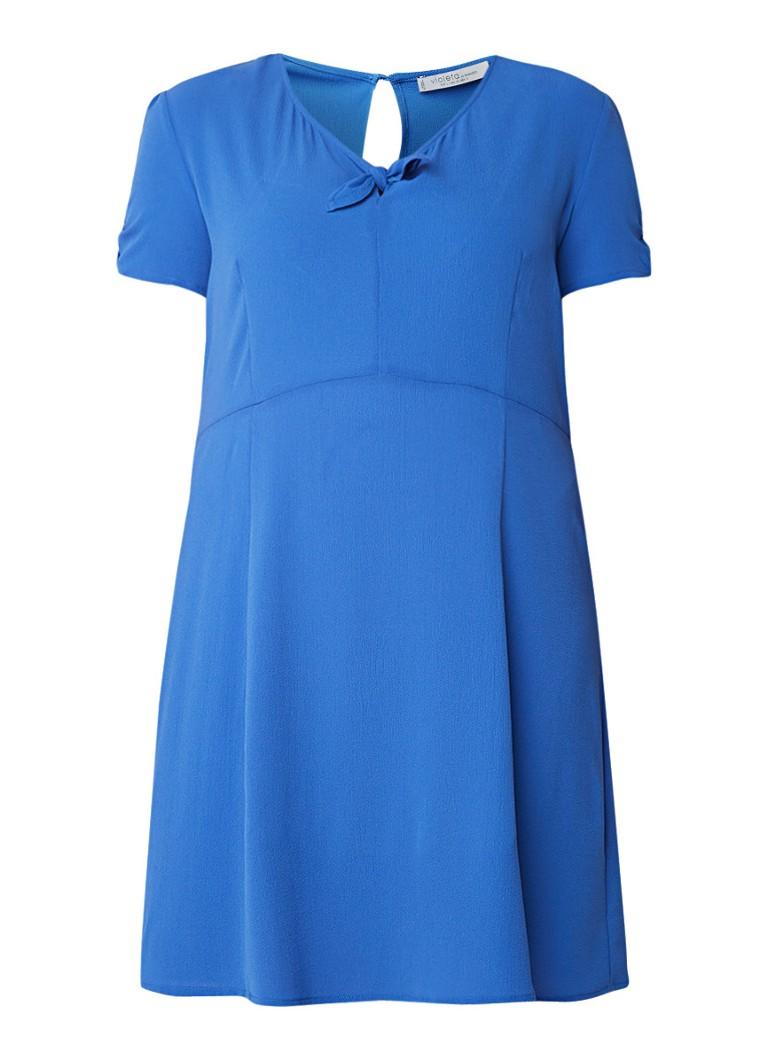 Mango Cachi jurk van crêpe met strikdetail royalblauw
