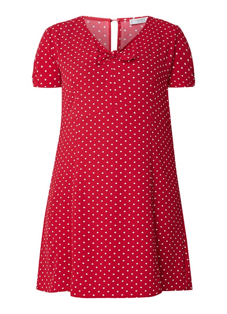 Mango Cachip jurk van crêpe met gestipt dessin rood