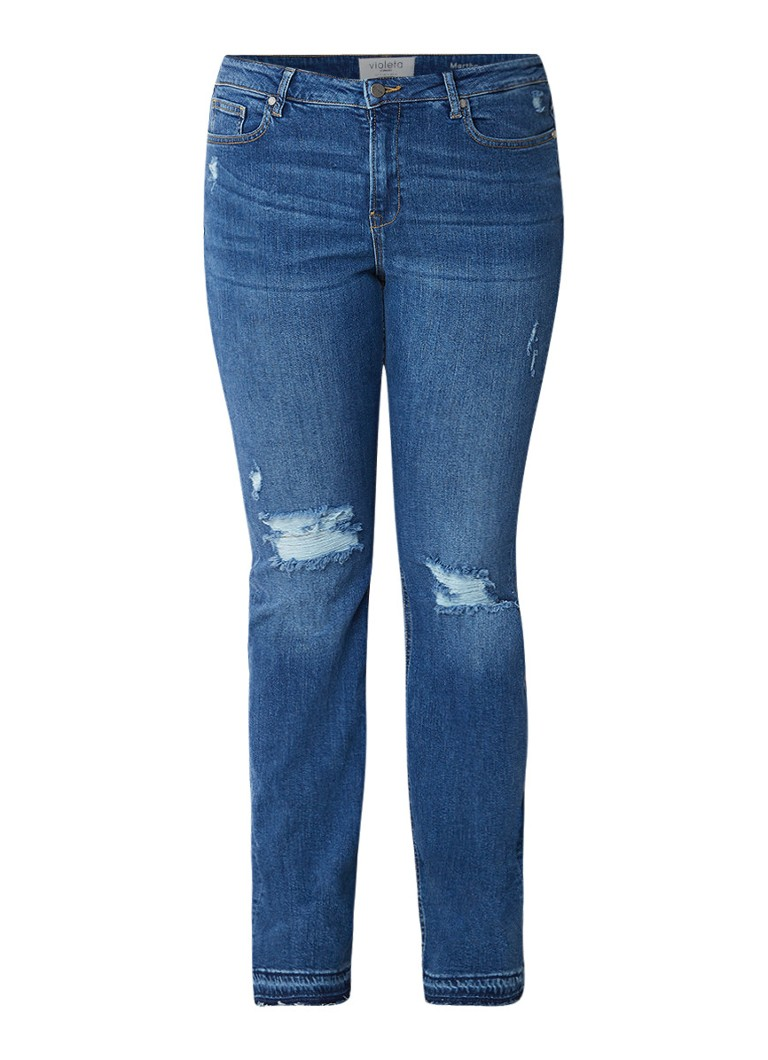MANGO Martha high rise bootcut jeans met destroyed details