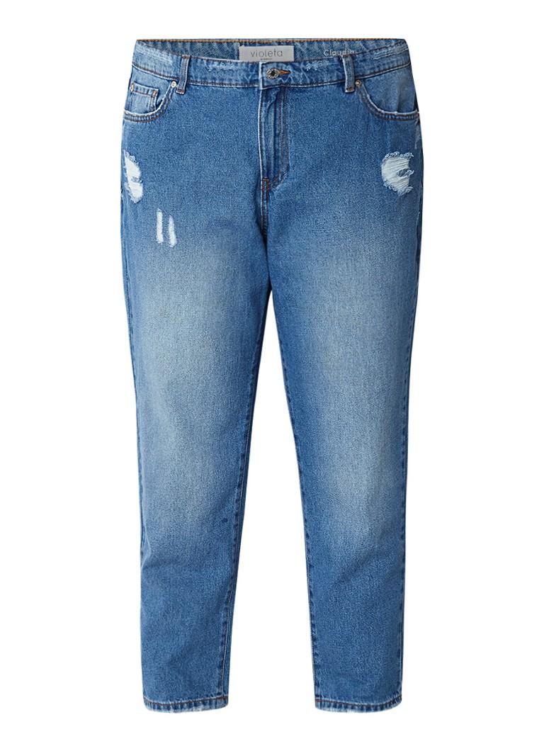 MANGO Claudia high rise cropped girlfriend jeans met medium wassing