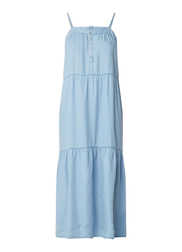 Mango Largo maxi-jurk van lyocell met spaghettibandjes indigo