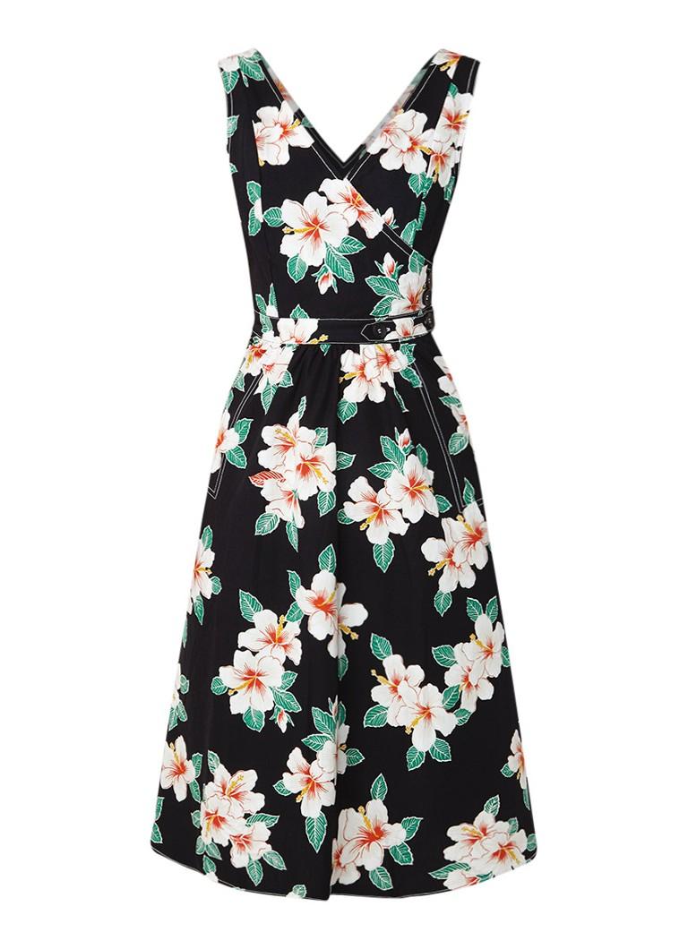 Mango Gardenia midi-jurk met bloemendessin zwart