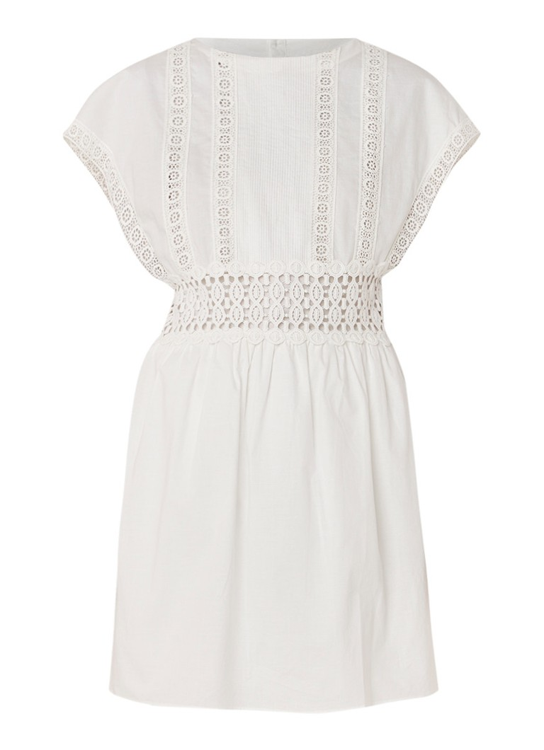 Mango Kiwano midi-jurk met kapmouw en guipure kant gebroken wit