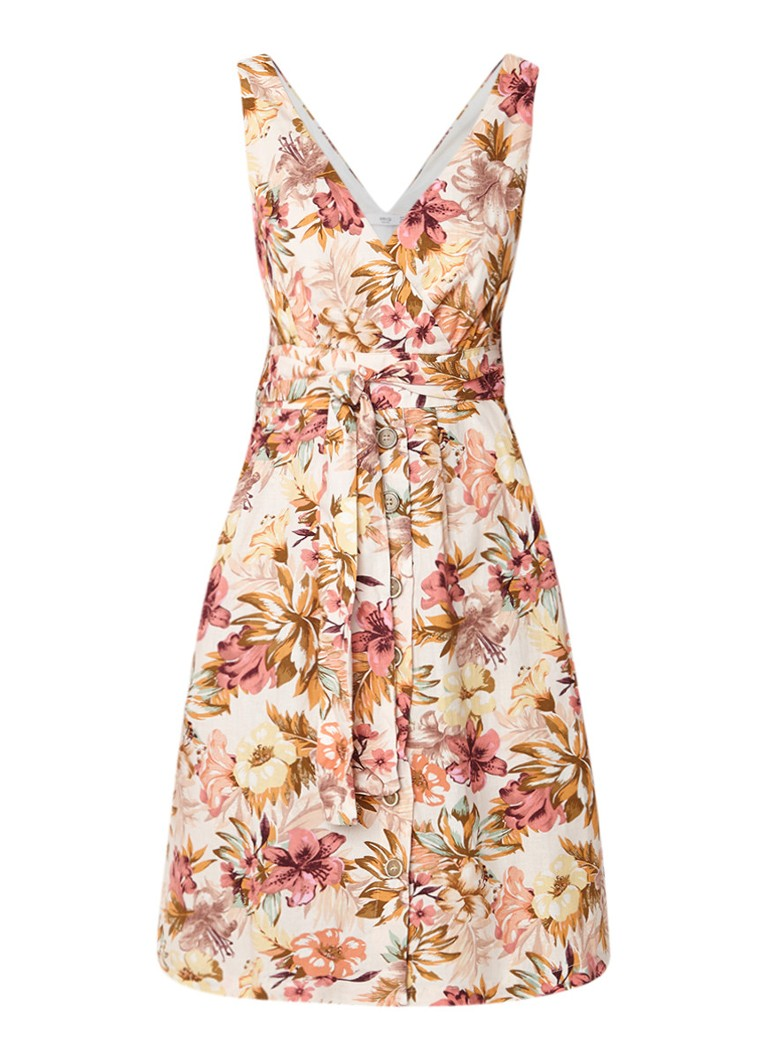 Mango Nature A-lijn jurk met bloemendessin beige
