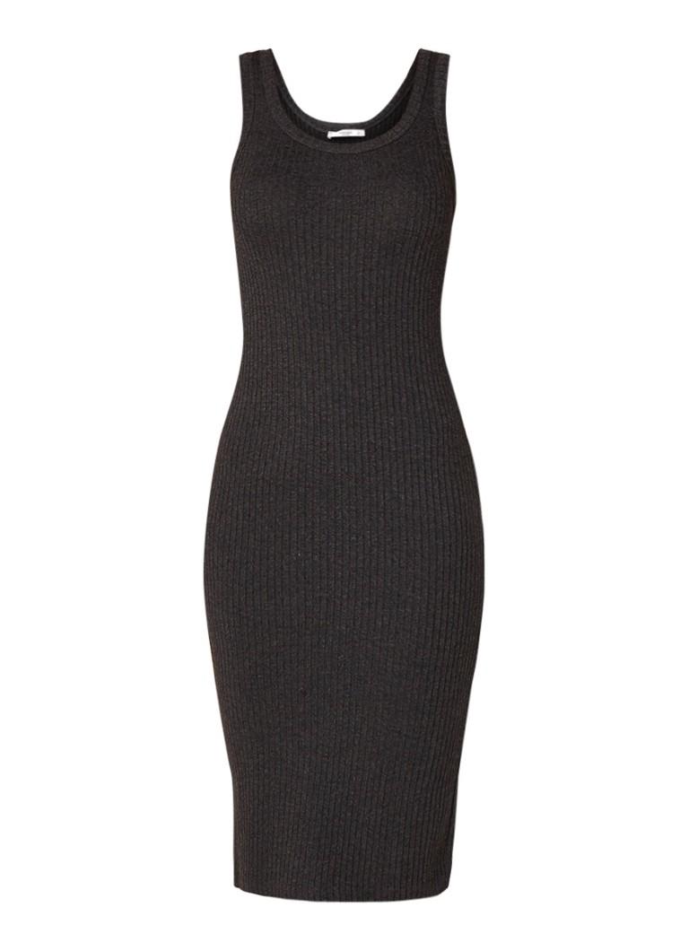 Mango Abander aansluitende jurk van ribgebreid jersey antraciet