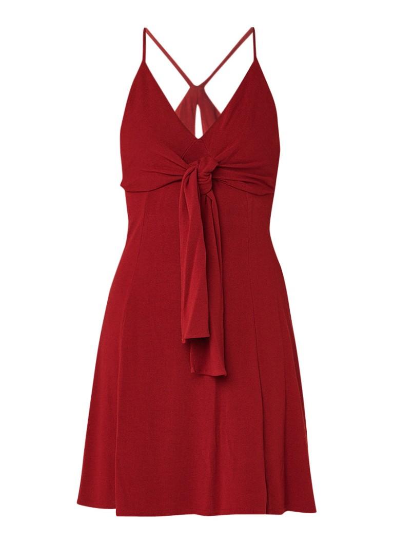 Mango Slater cami mini-jurk met strikdetail donkerrood