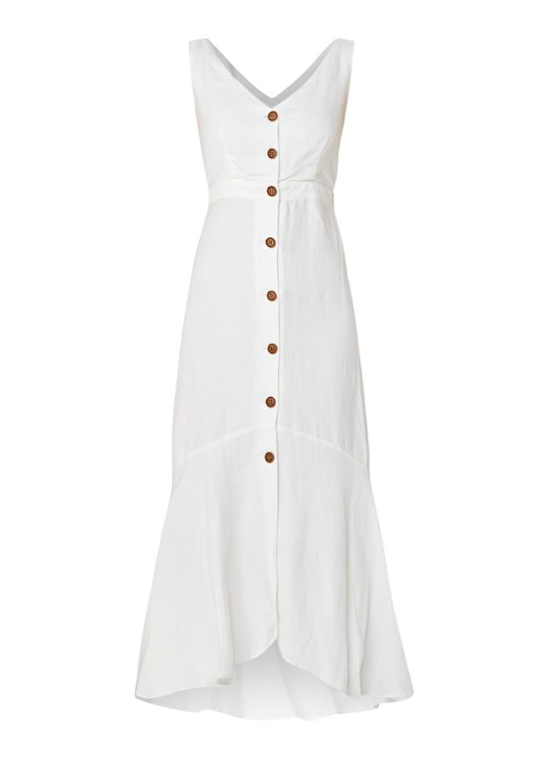 Mango Tropez jurk in linnenblend met knoopdetail wit