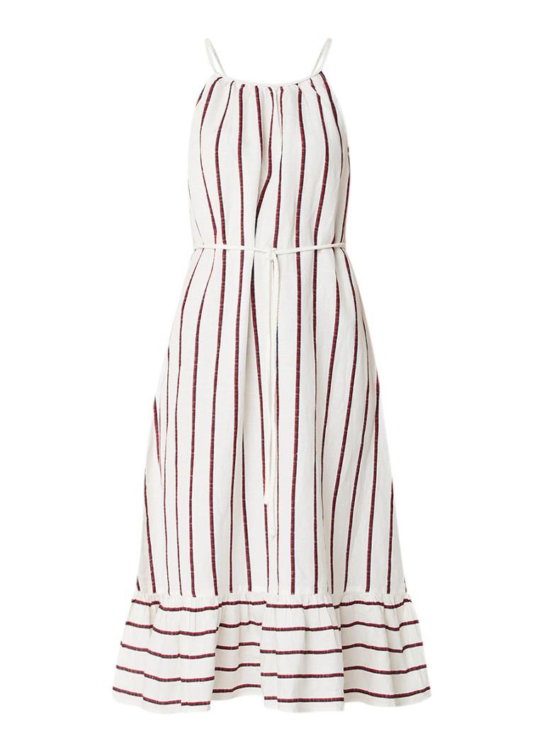 Mango Braid jurk in linnenblend met streepdessin en ruches gebroken wit