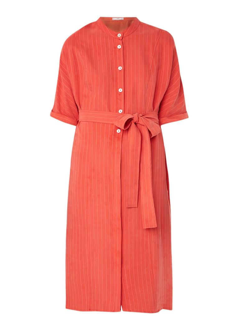 Mango Agnes2 midi blousejurk met krijtstreep en ceintuur oranjerood