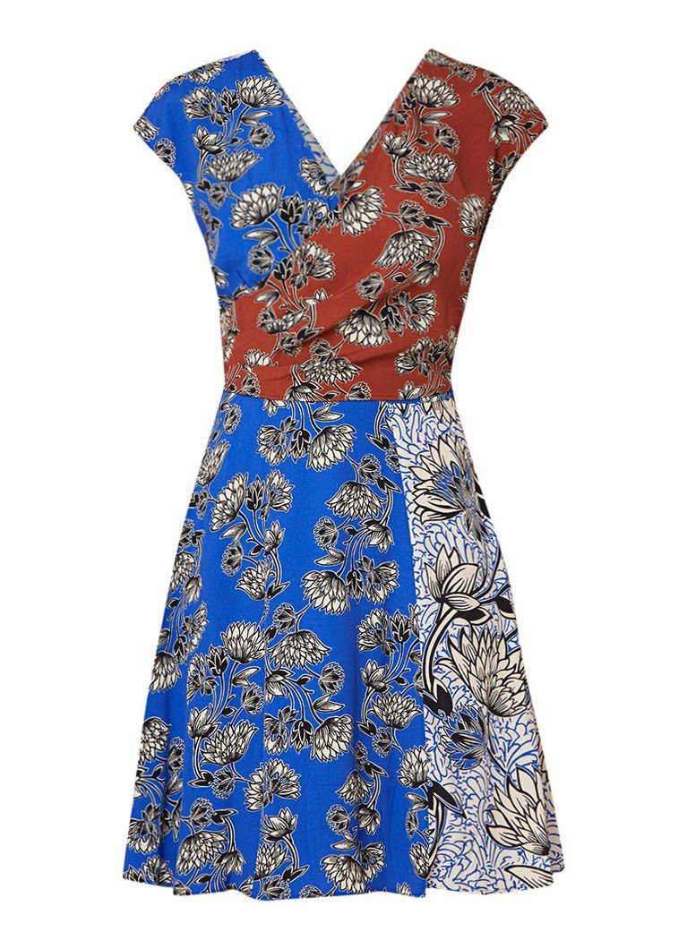 Mango Bari middel-lange jurk met bloemdessin middenblauw