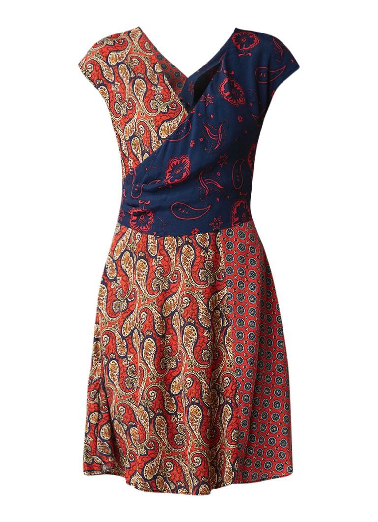 Mango Bari midi-jurk met overslag en gecombineerd dessin rood
