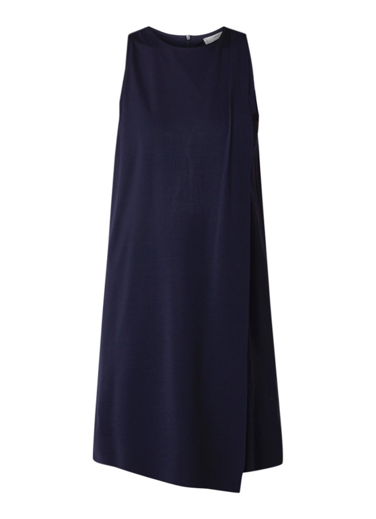 Mango Diagonal straight fit mini-jurk met overslag donkerblauw