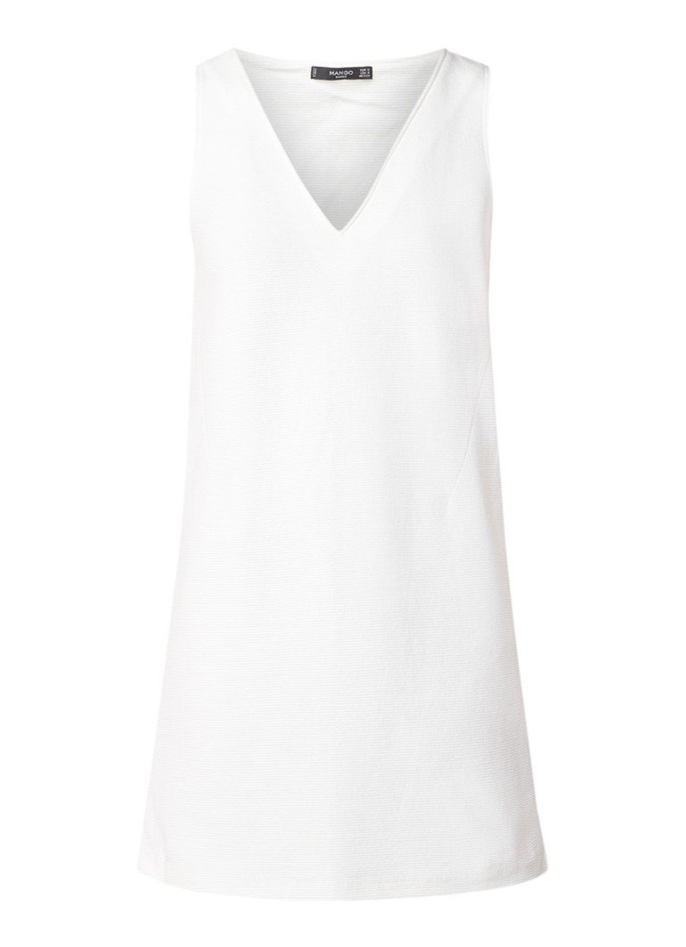 Mango Lolao mini-jurk met structuur en V-hals wit