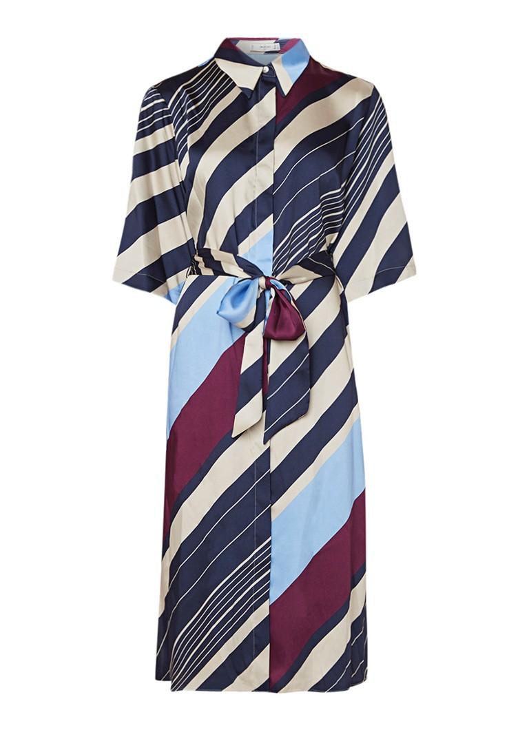 Mango Amand blousejurk met streepdessin en strikceintuur multicolor