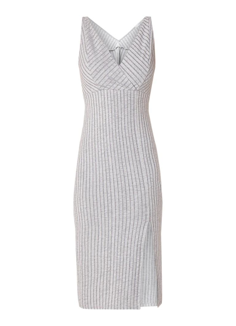Mango Kelly aansluitende jurk met V-hals in ribgebreid jersey middengrijs