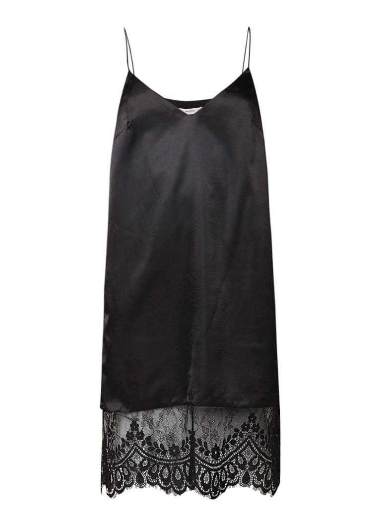 Mango Jaipur midi-jurk van satijn met kant zwart