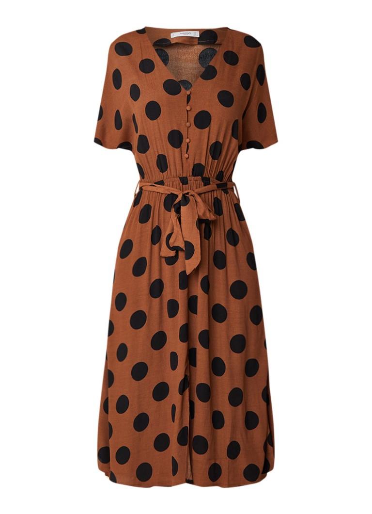 Mango July gestipte midi-jurk van crêpe met strikceintuur bruin