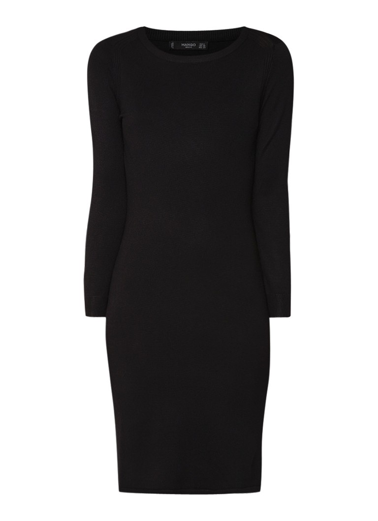Mango Agata fijngebreide jurk met ronde hals zwart