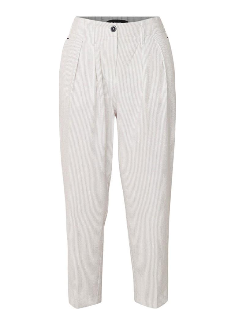 MANGO Euxenio cropped straight fit pantalon met streepdessin