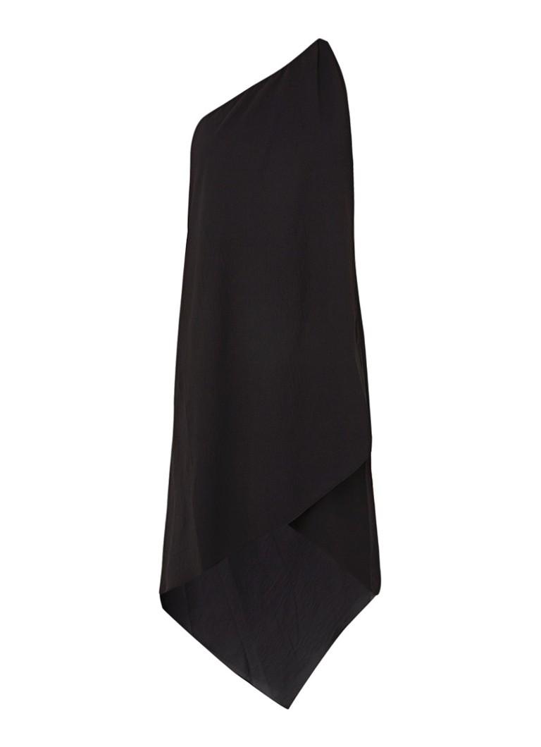 Mango Amilia midi-jurk met asymmetrische halslijn zwart