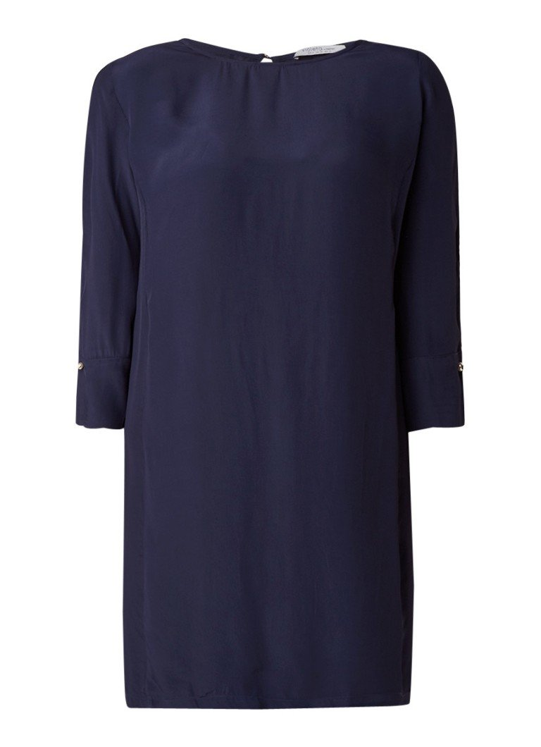 Mango Chainy midi-jurk van crêpe met manchetknopen middenblauw