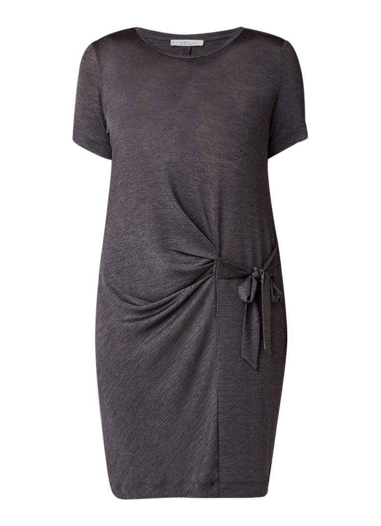 Mango Nella midi-jurk met strikdetail en stretch donkergrijs
