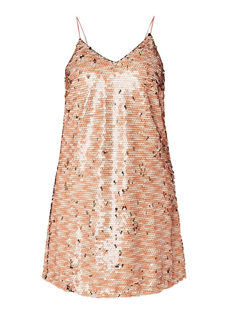 Mango GODDES mini-jurk met omkeerbare pailletten perzikroze