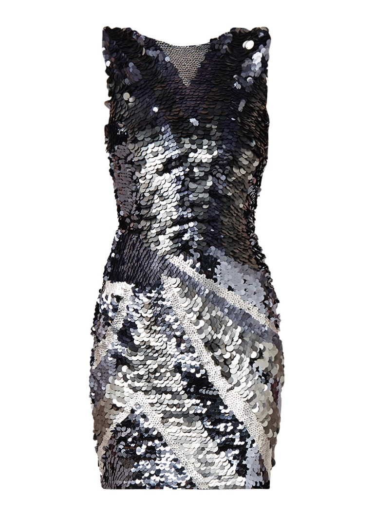 Mango Biyonse midi-jurk met pailletten en stretch zilver