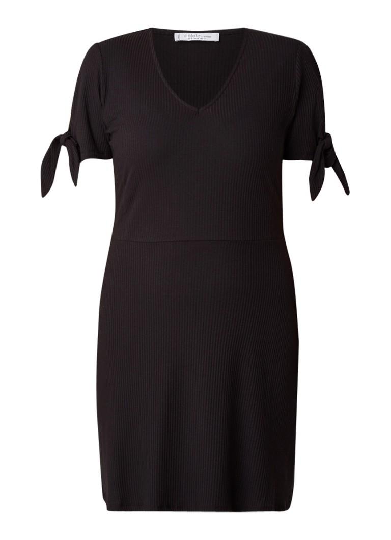 Mango Solita midi-jurk in katoenblend met strikmanchet zwart