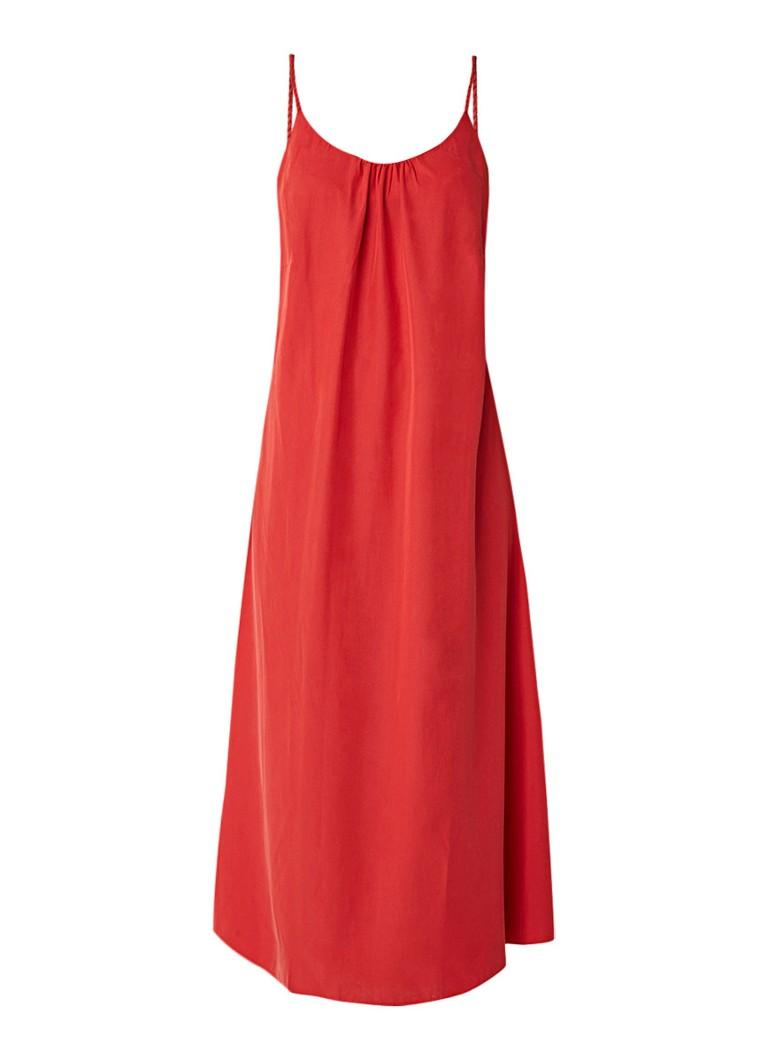 Mango Largo midi-jurk met gevlochten bandjes koraalrood