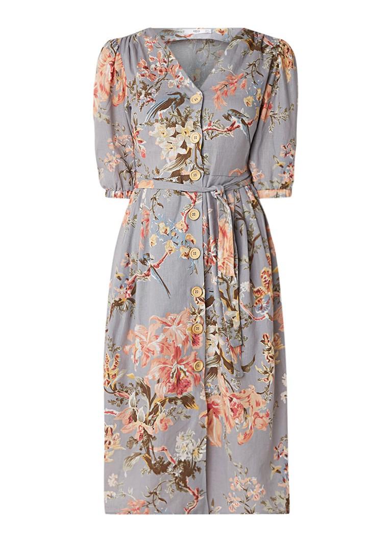 Mango Goldy midi-jurk met bloemendessin in linnenblend blauwgrijs