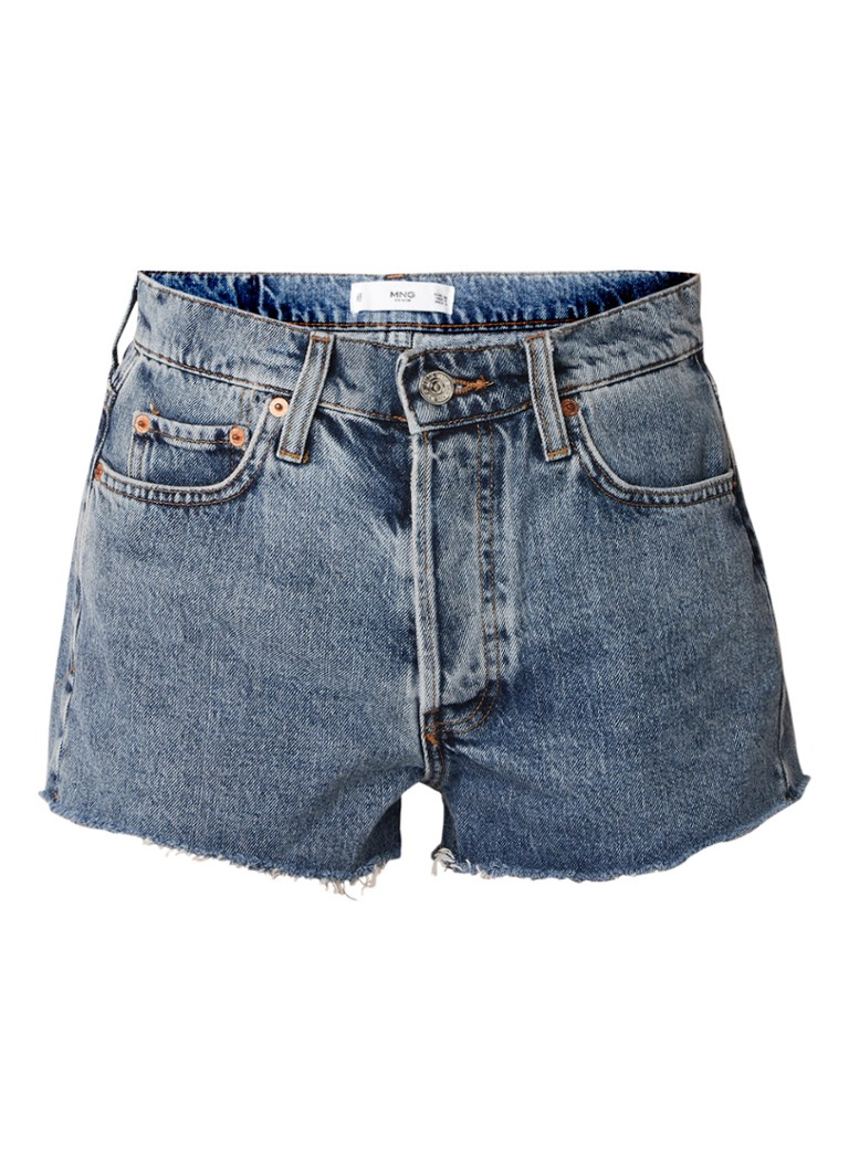 MANGO Urban high rise denim shorts met gerafelde zoom