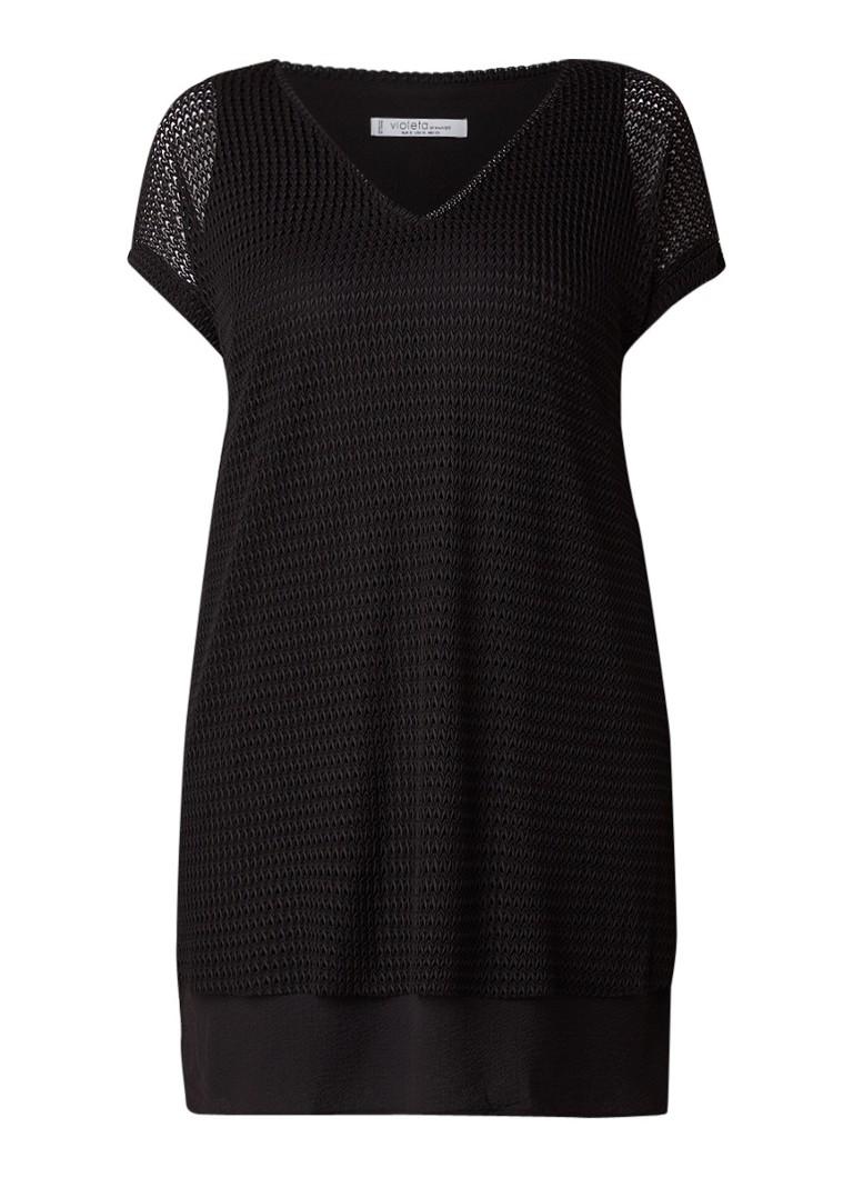Mango Corti loose fit mini-jurk met overlay zwart