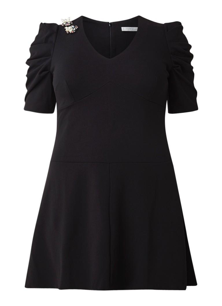 Mango Guau midi-jurk van jersey met smockdetail zwart