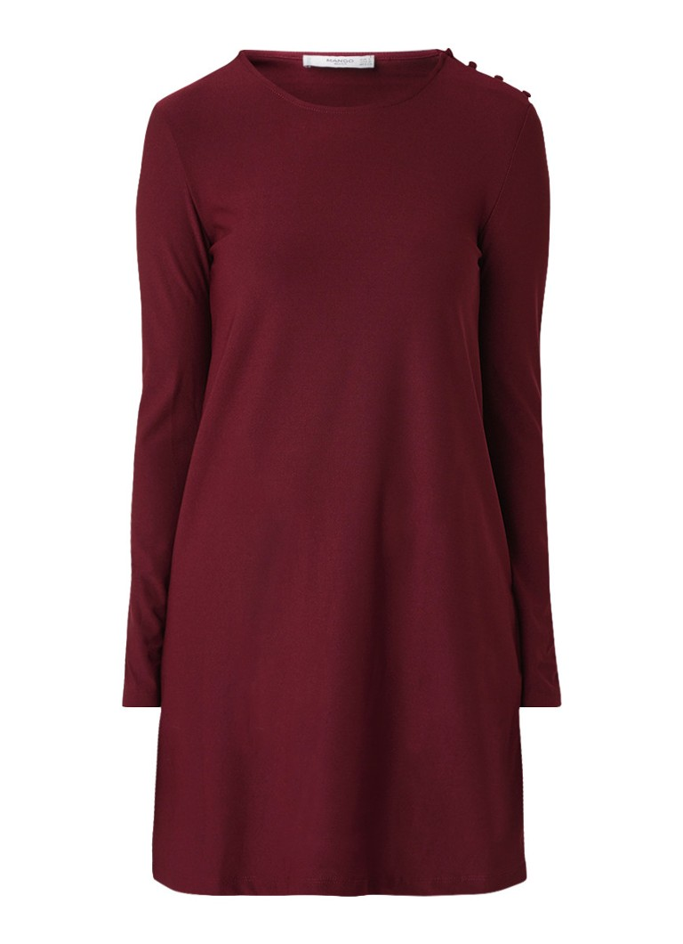 Mango Vera midi-jurk met knoopdetail en stretch bordeauxrood