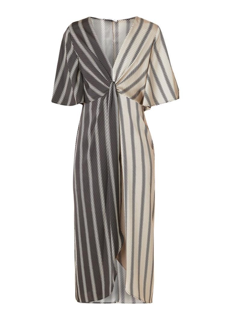 Mango Bico midi-jurk met geplooid detail en grafisch dessin zwart
