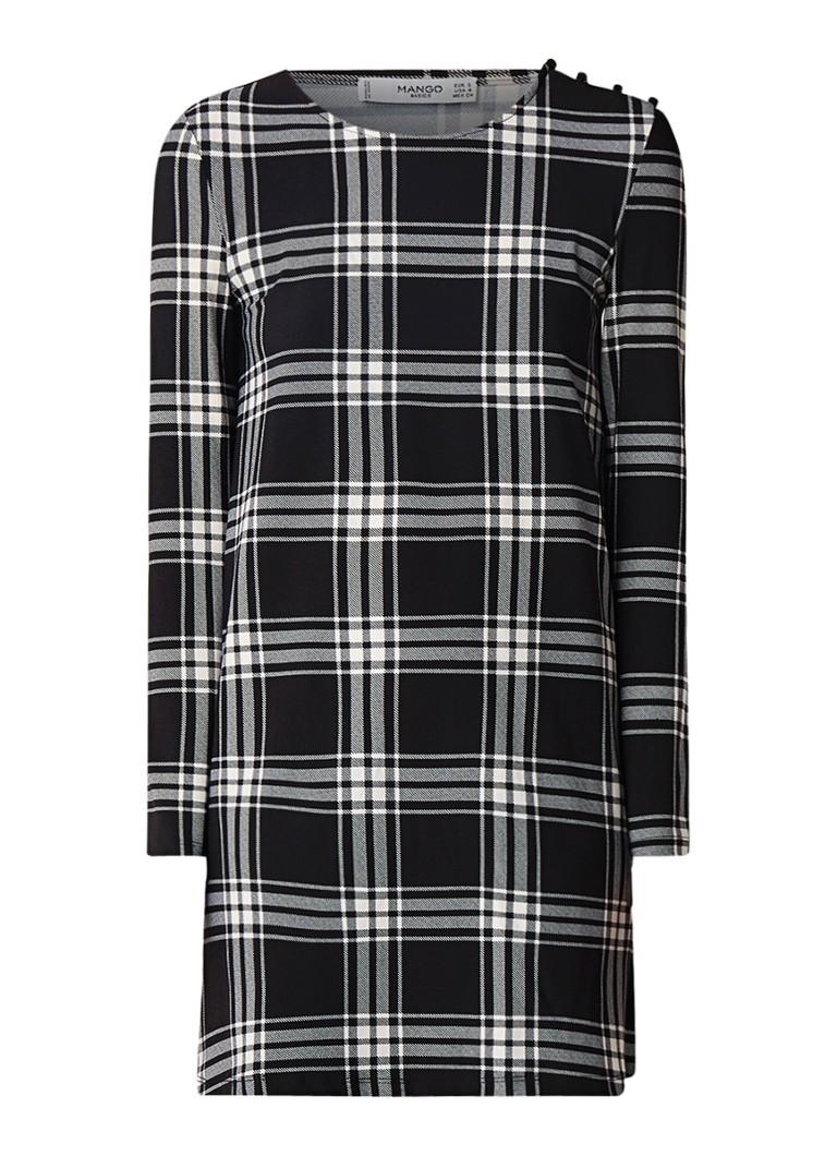 Mango Vera mini-jurk met stretch en dessin zwart