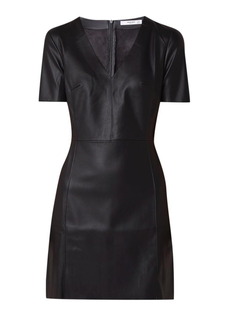 Mango Worker getailleerde mini-jurk van imitatieleer zwart