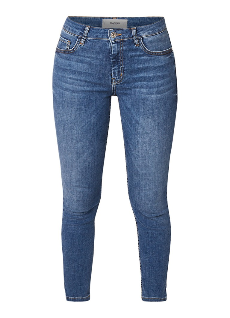 MANGO High rise cropped skinny fit jeans met stretch