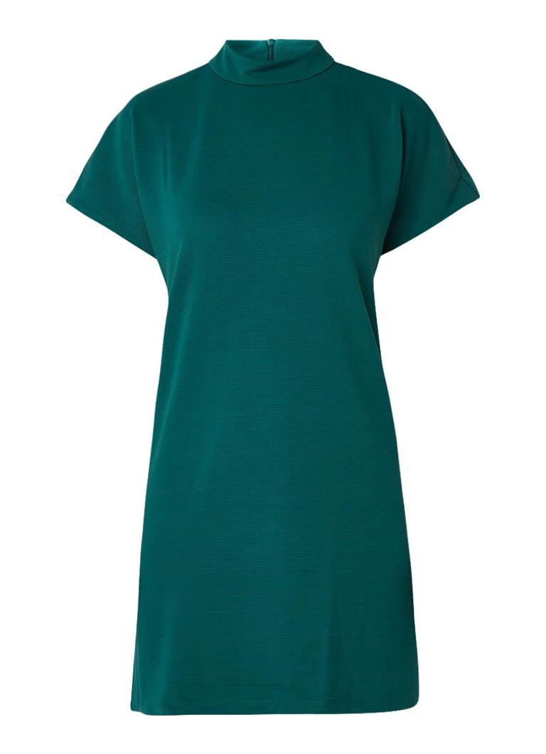 Mango Dottie loose fit midi-jurk met col en ribstof petrol