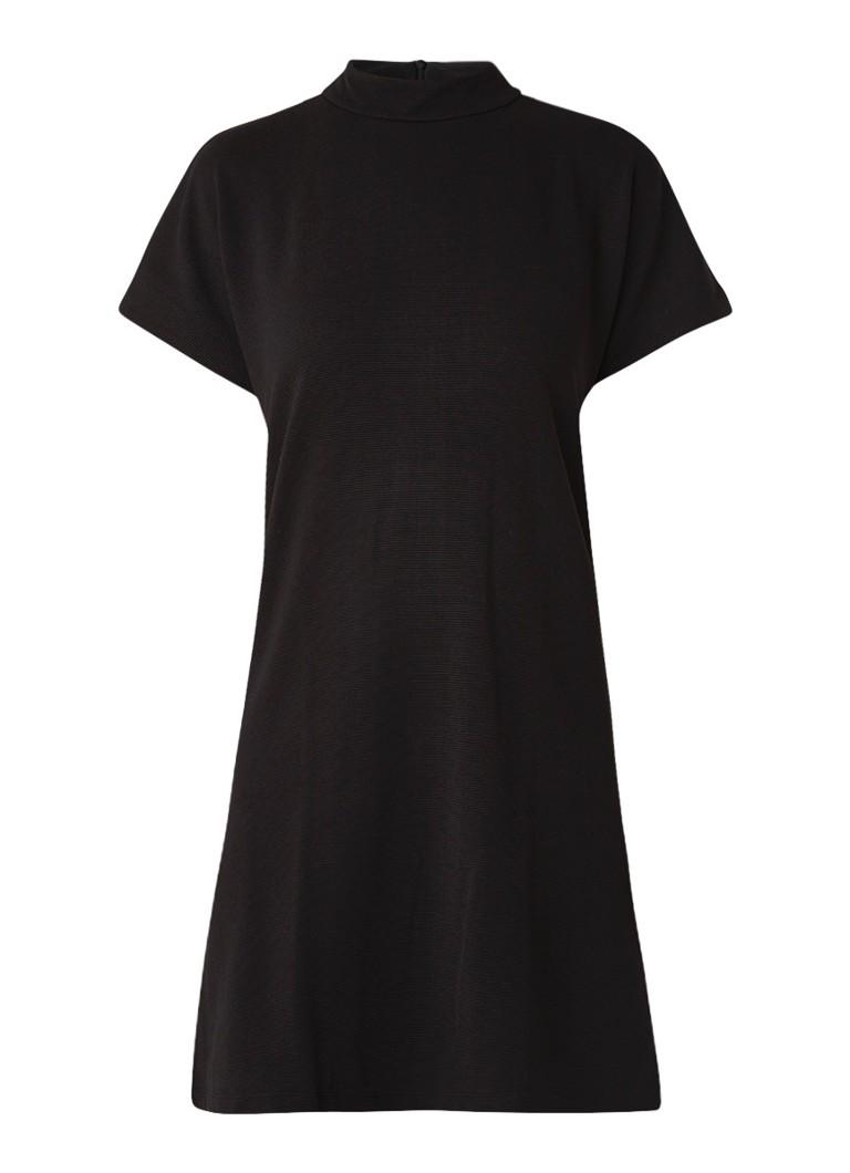 Mango Dottie loose fit midi-jurk met col en ribstof zwart