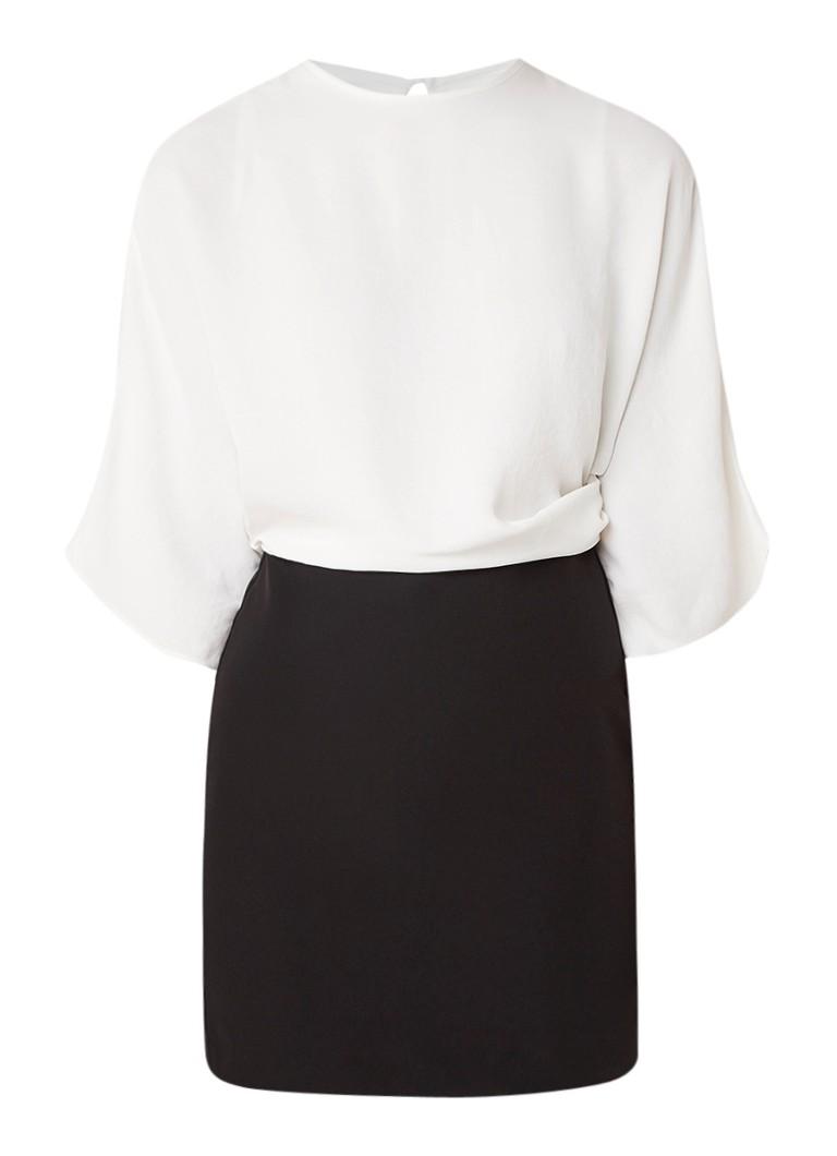 Mango Combi tweekleurige mini-jurk met driekwartmouw zwart