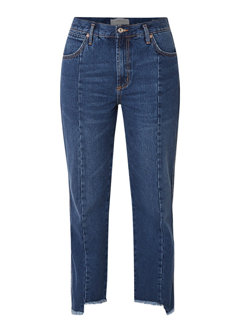 MANGO High rise cropped straight fit jeans met gerafelde zoom