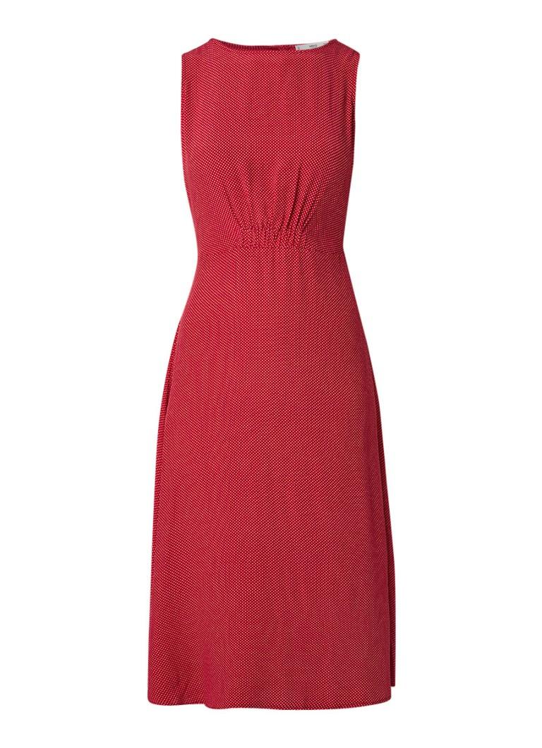 Mango Fleur A-lijn midi-jurk met gestipt dessin rood