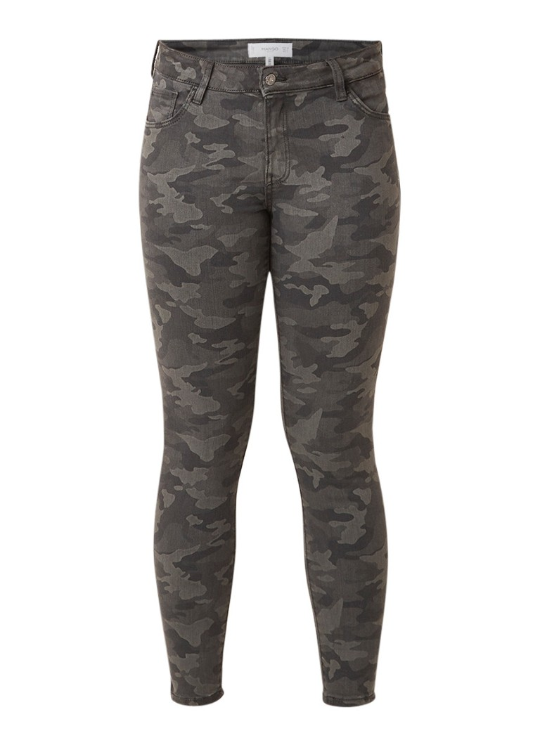 MANGO Mid rise skinny cropped fit jeans met camouflage print