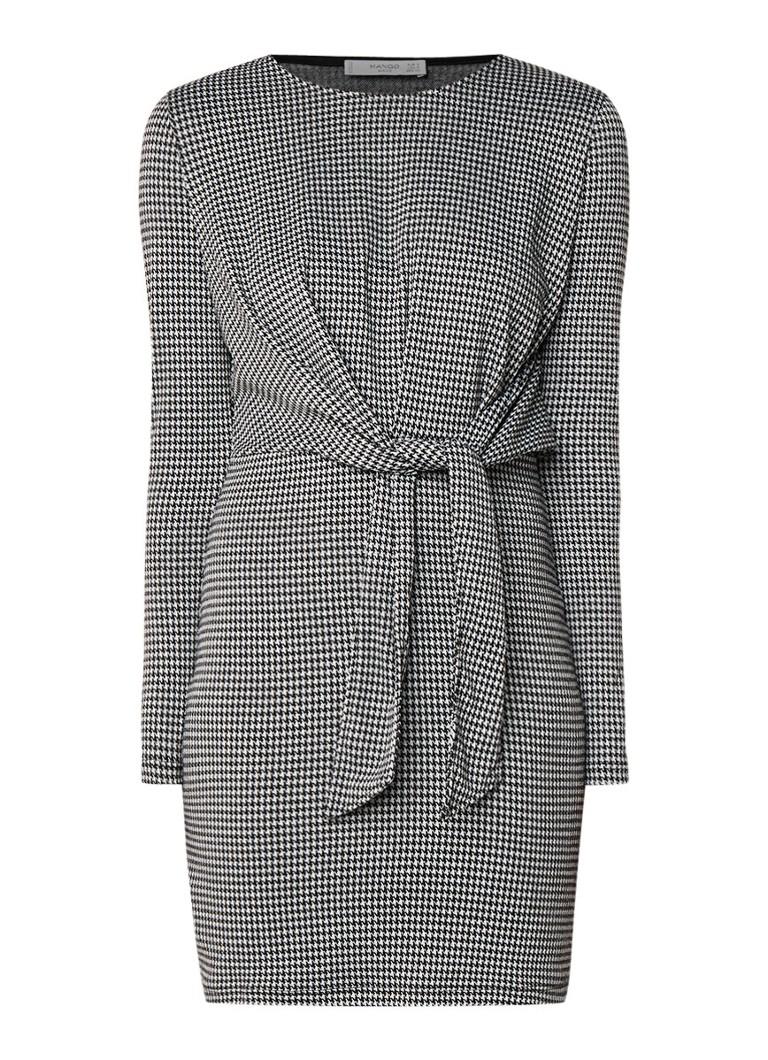 Mango Compi mini-jurk met pied-de-poule dessin en strikceintuur zwart
