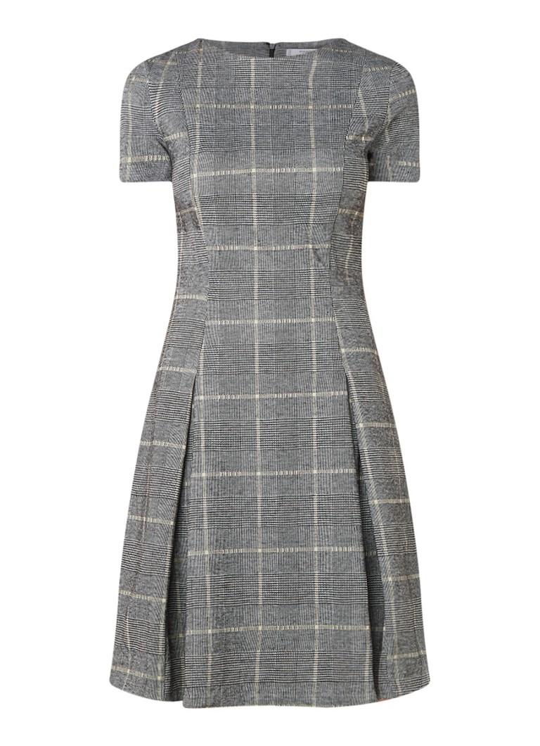 Mango Pinto midi-jurk met geruit dessin en stretch grijs